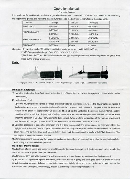 Инструкция по эксплуатации рефрактометра